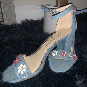 "Jessica Simpson embellished 3"" kitten heels"
